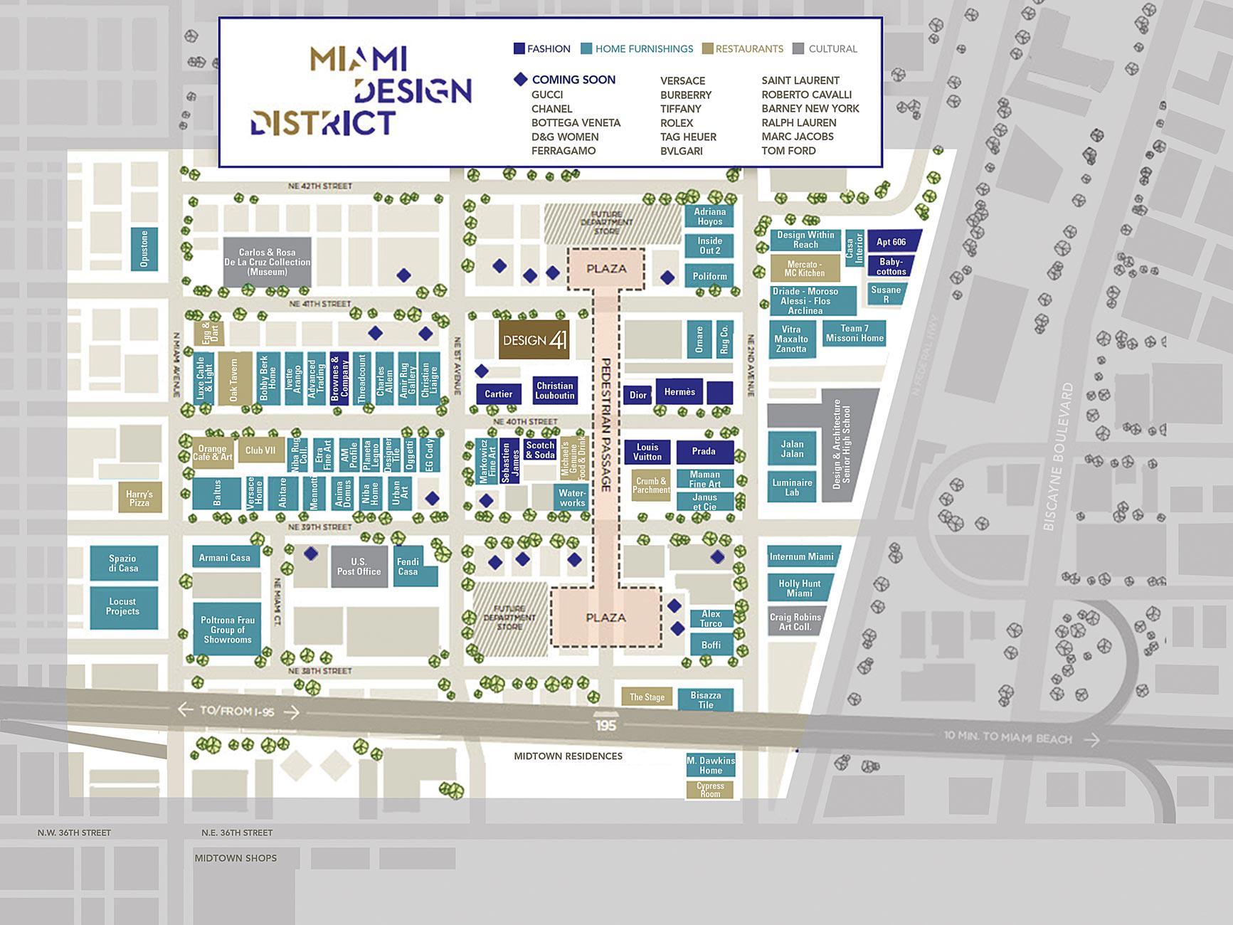 miami design district map map of miami design district florida