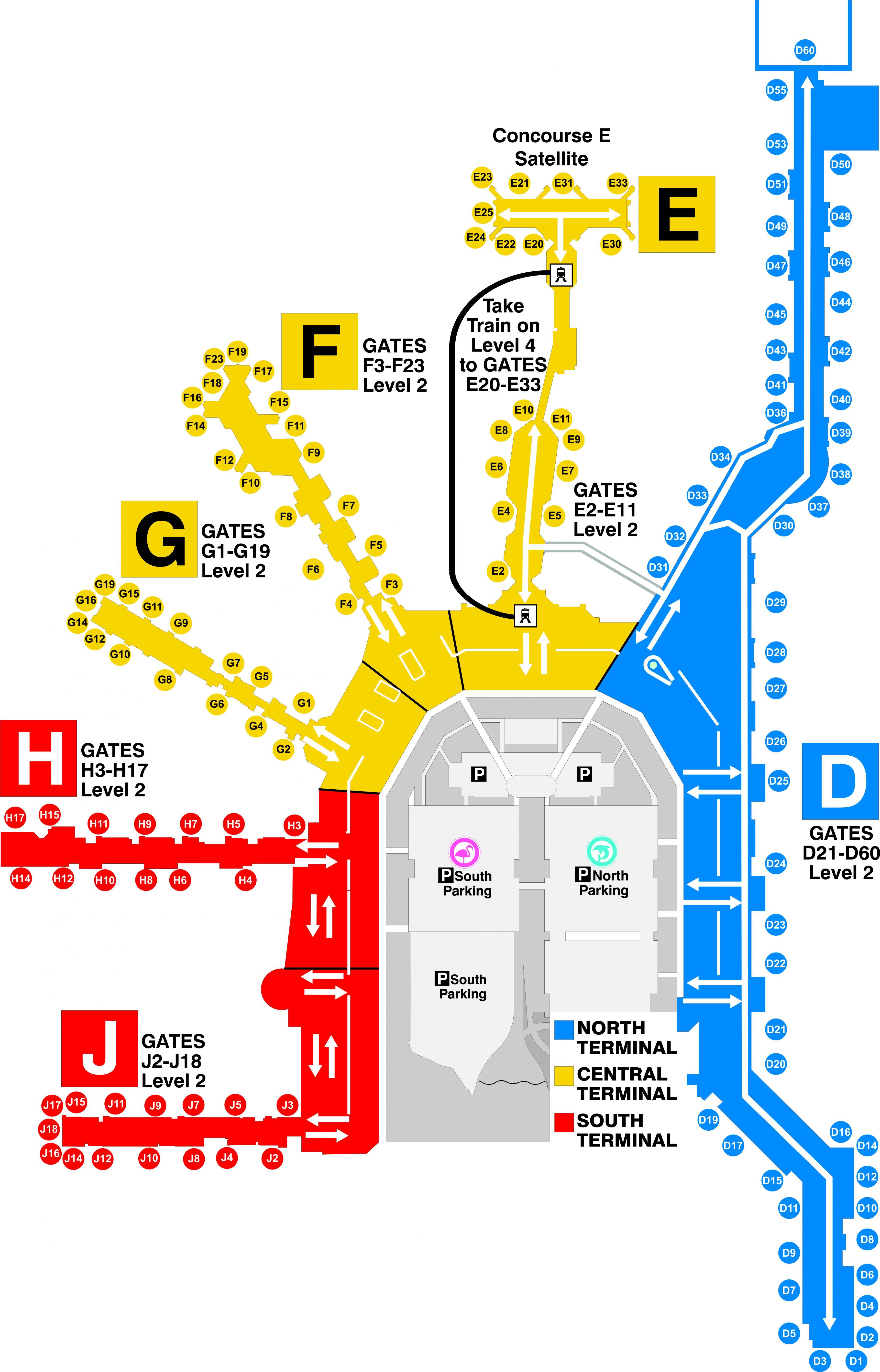 miami terminal map - miami airport terminal map (florida