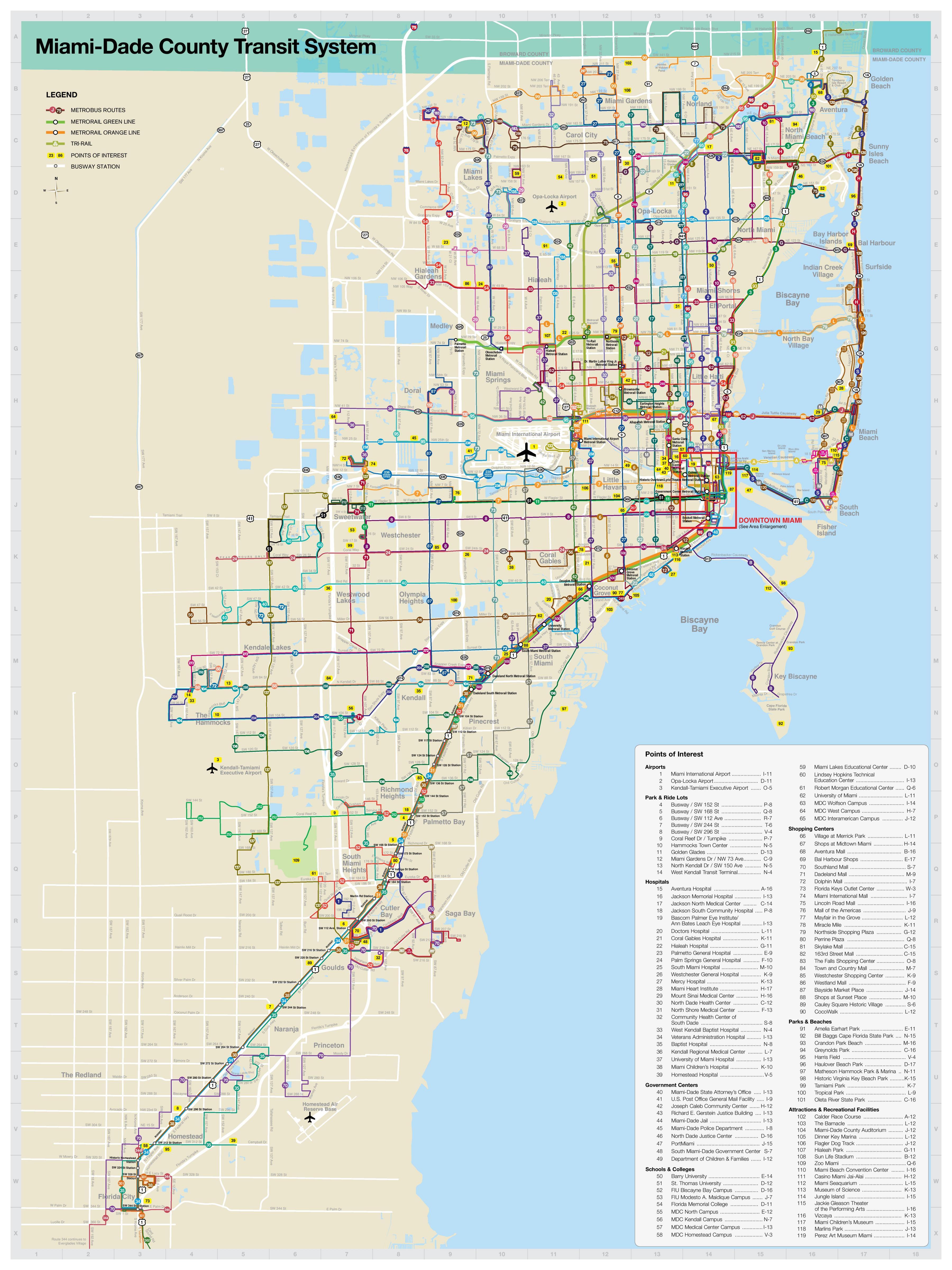 miami transit map - miami public transit map (florida - usa)