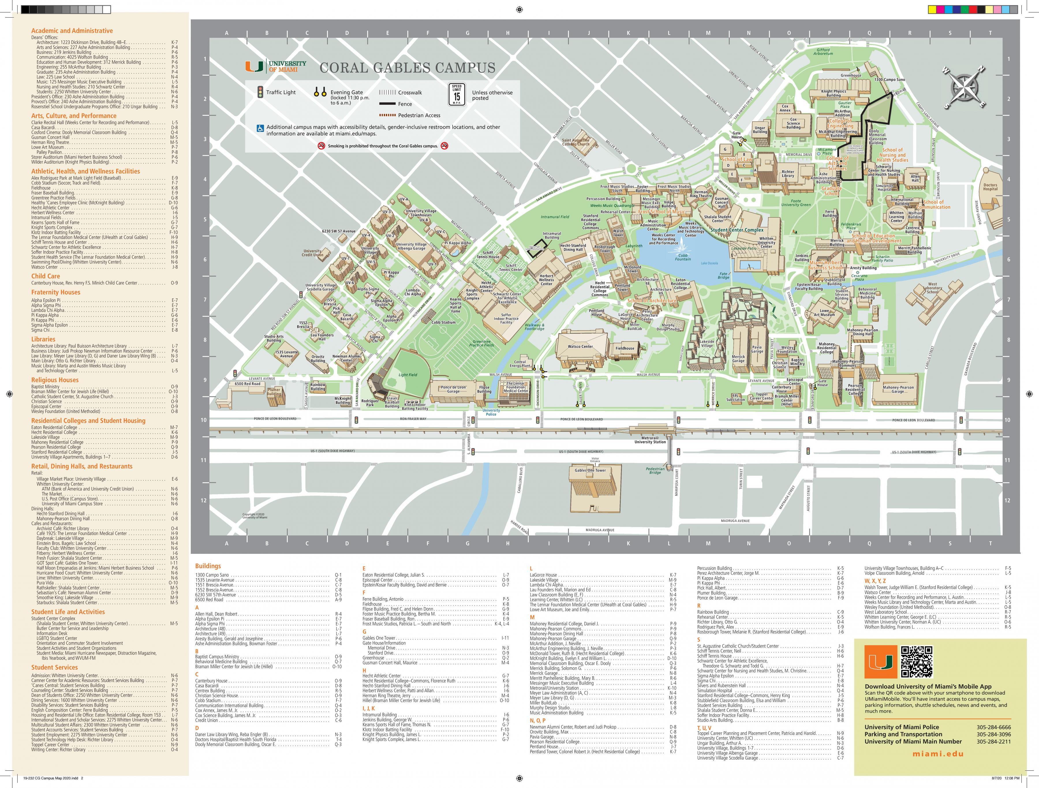 Miami university campus map - University of Miami campus map ...