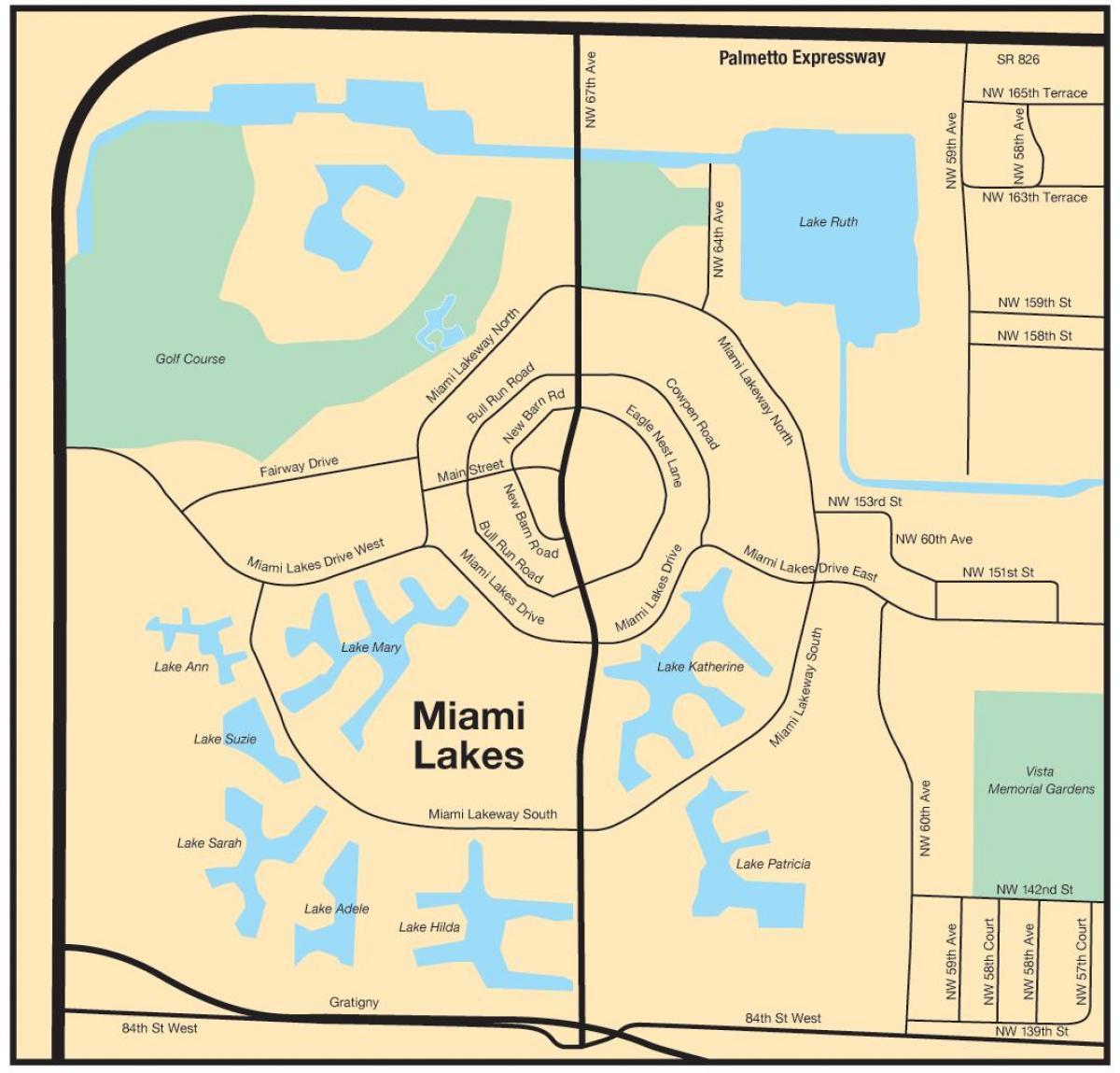 Miami Lakes Map Miami lakes map   Map of Miami lakes (Florida   USA)