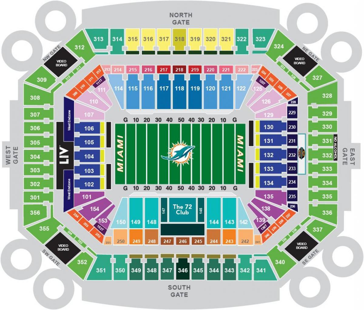 Sun Life stadium map   Sun Life stadium seating map (Florida   USA)