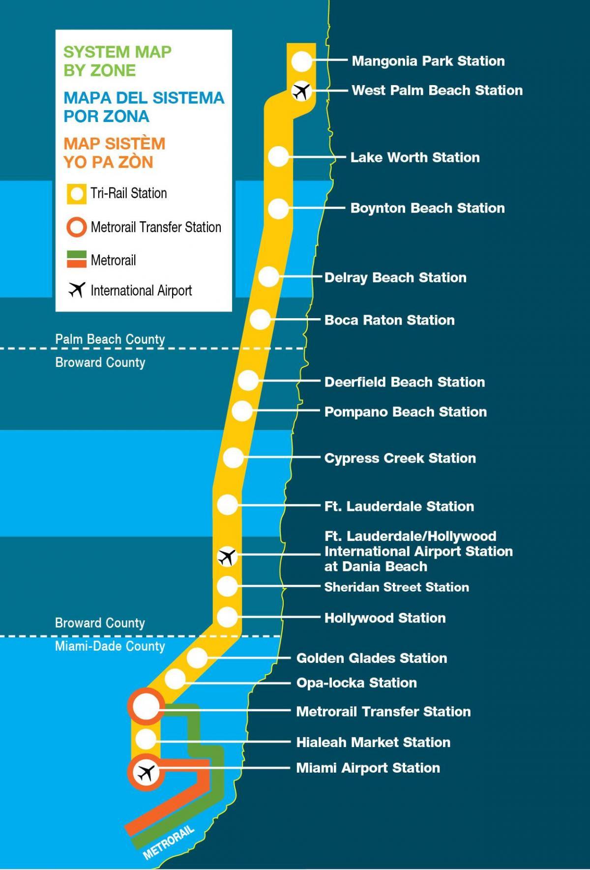tri rail map - miami tri rail map (florida - usa)