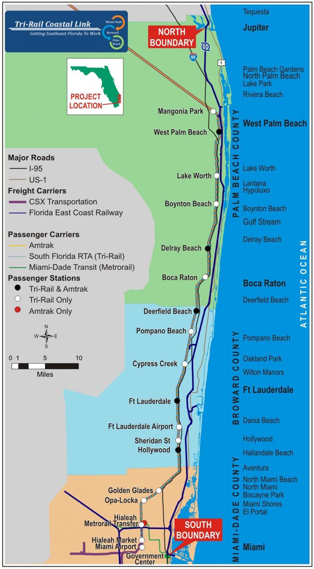 tri rail miami map - tri rail stations map (florida - usa)