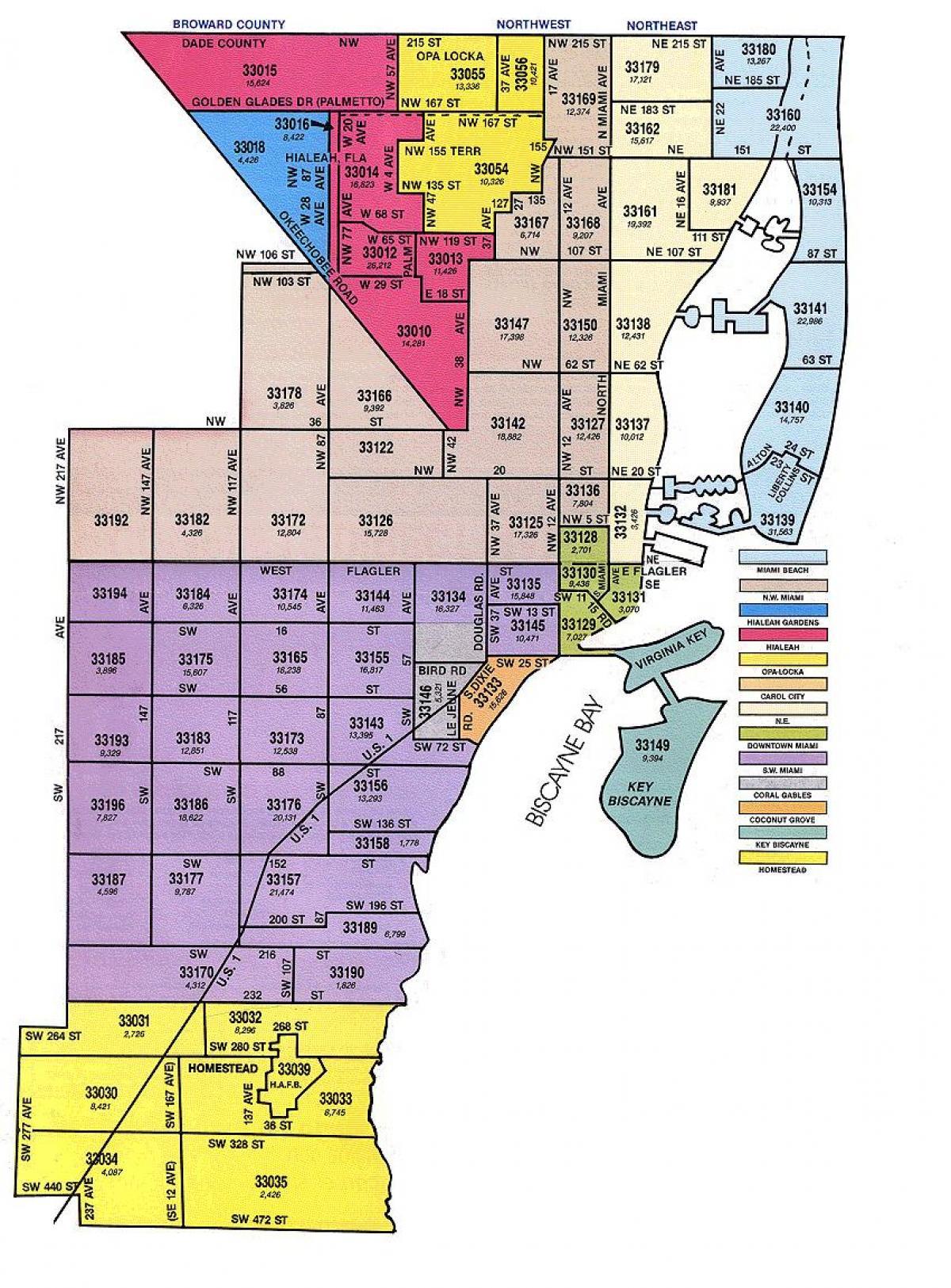 Miami Fl Zip Code Map Zip code map Miami   Miami FL zip code map (Florida   USA)